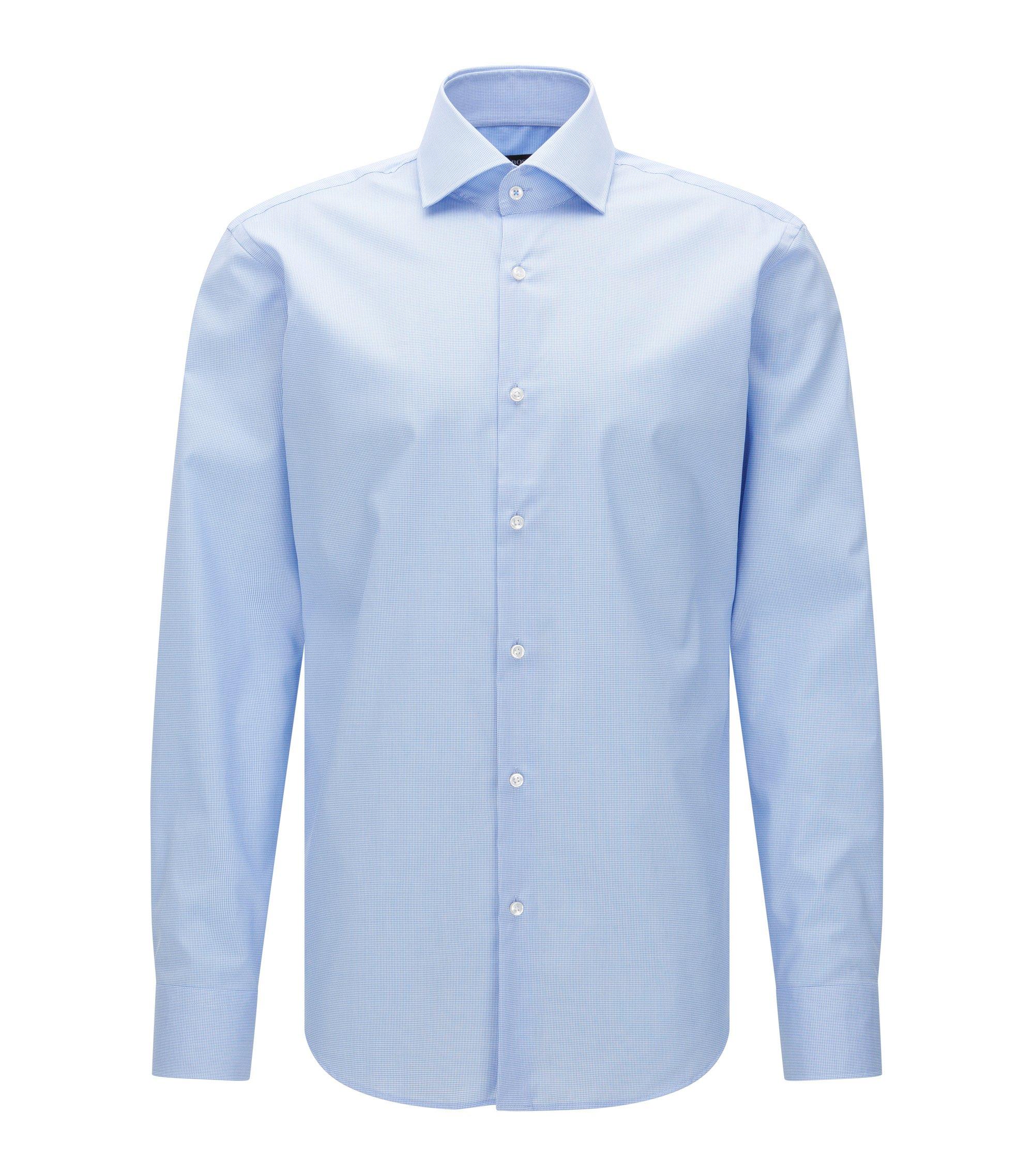 Micro-Check Easy Iron Cotton Dress Shirt, Regular Fit| Gert, Light Blue