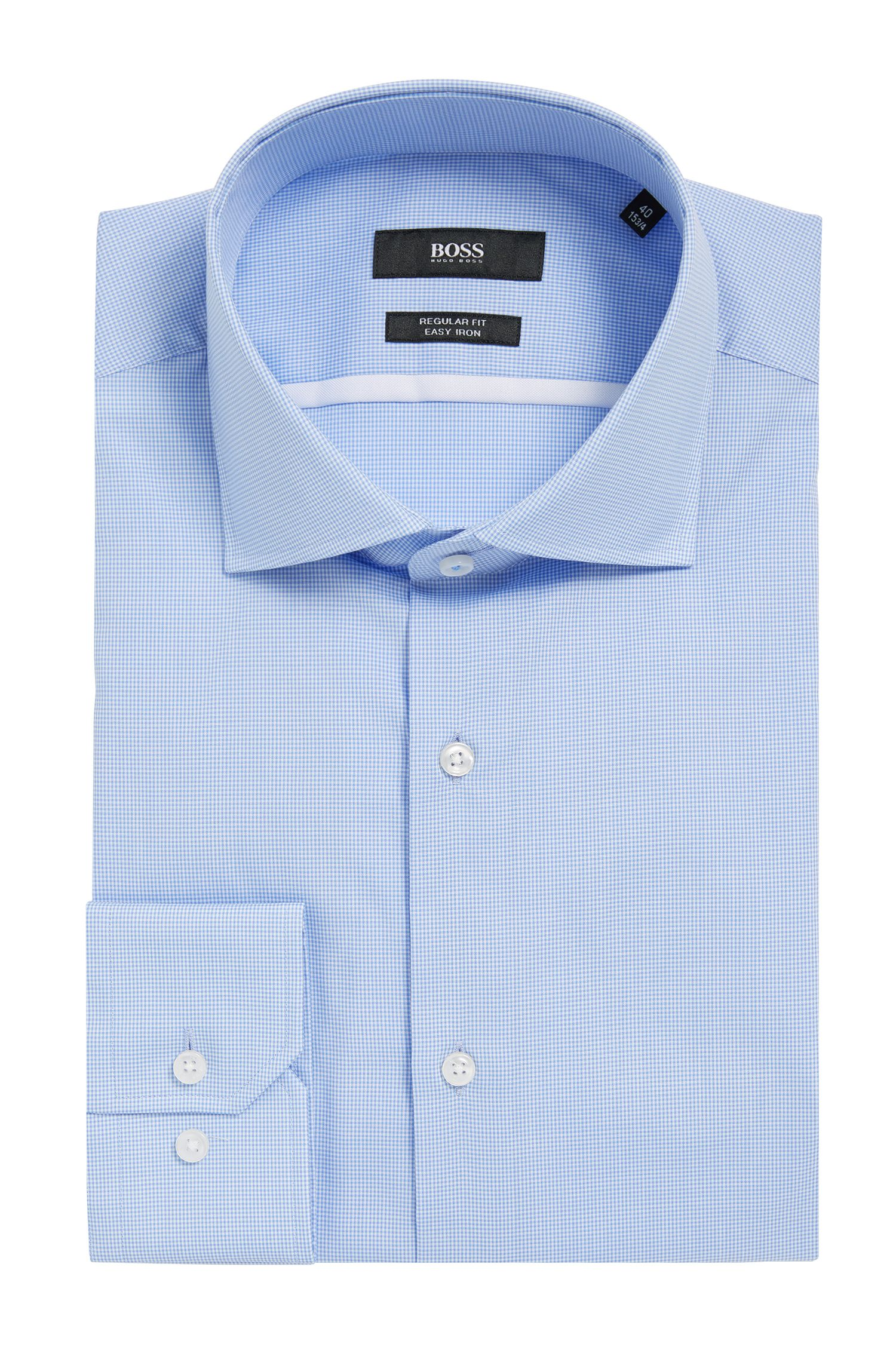 Micro-Check Easy Iron Cotton Dress Shirt, Regular Fit | Gert