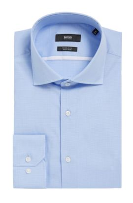 Microcheck Easy Iron Cotton Dress Shirt, Regular Fit | Gert, Light Blue