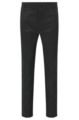 'Heldor2' | Slim Fit, Virgin Wool Blend Dress Pants, Black