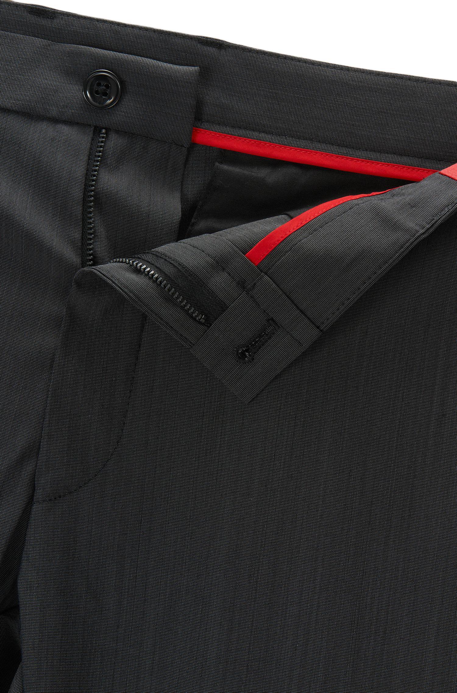 Virgin Wool Blend Pants, Slim Fit | Heldor, Black