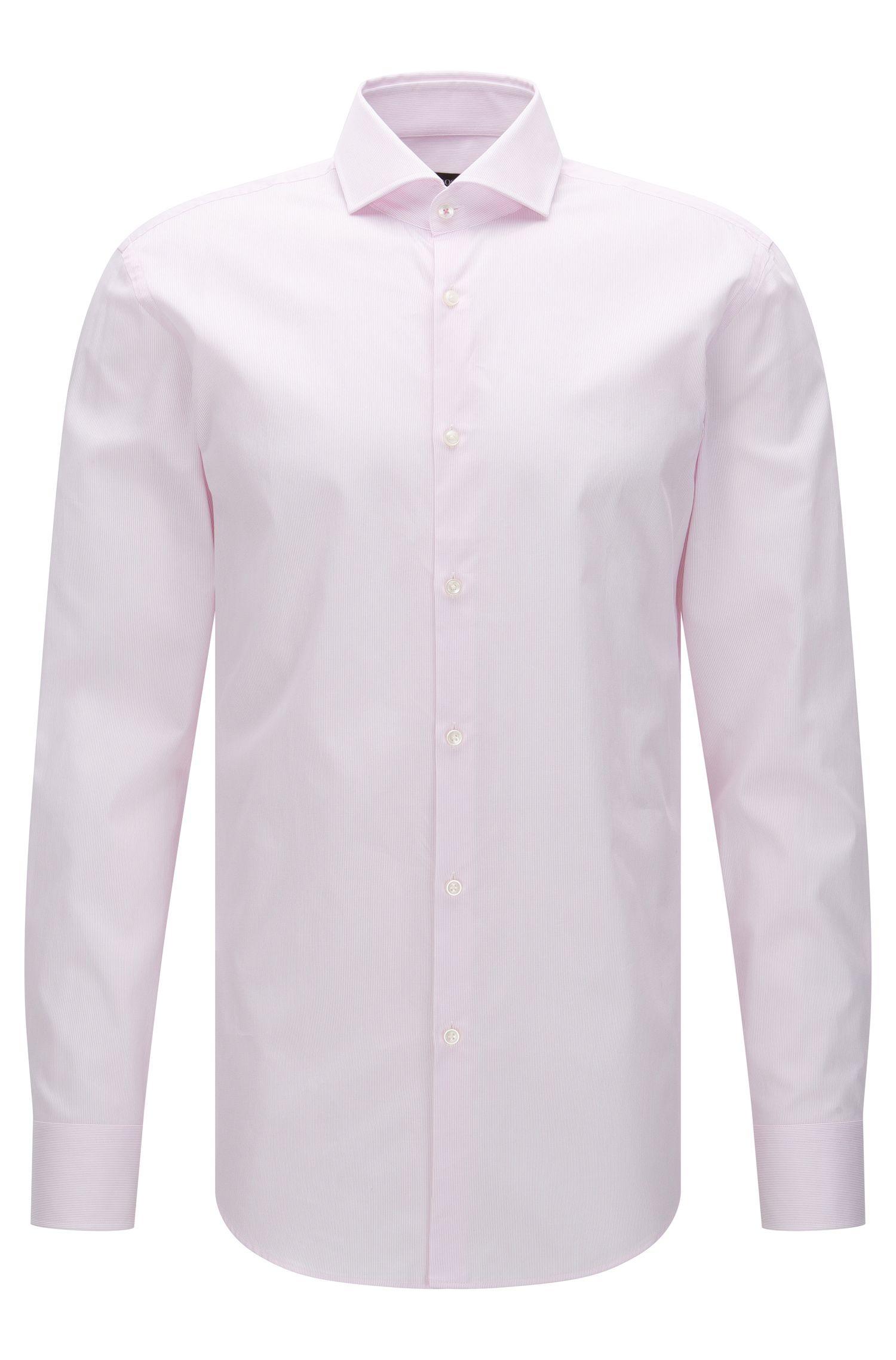 Striped Cotton Dress Shirt, Slim Fit | Jerrin, light pink