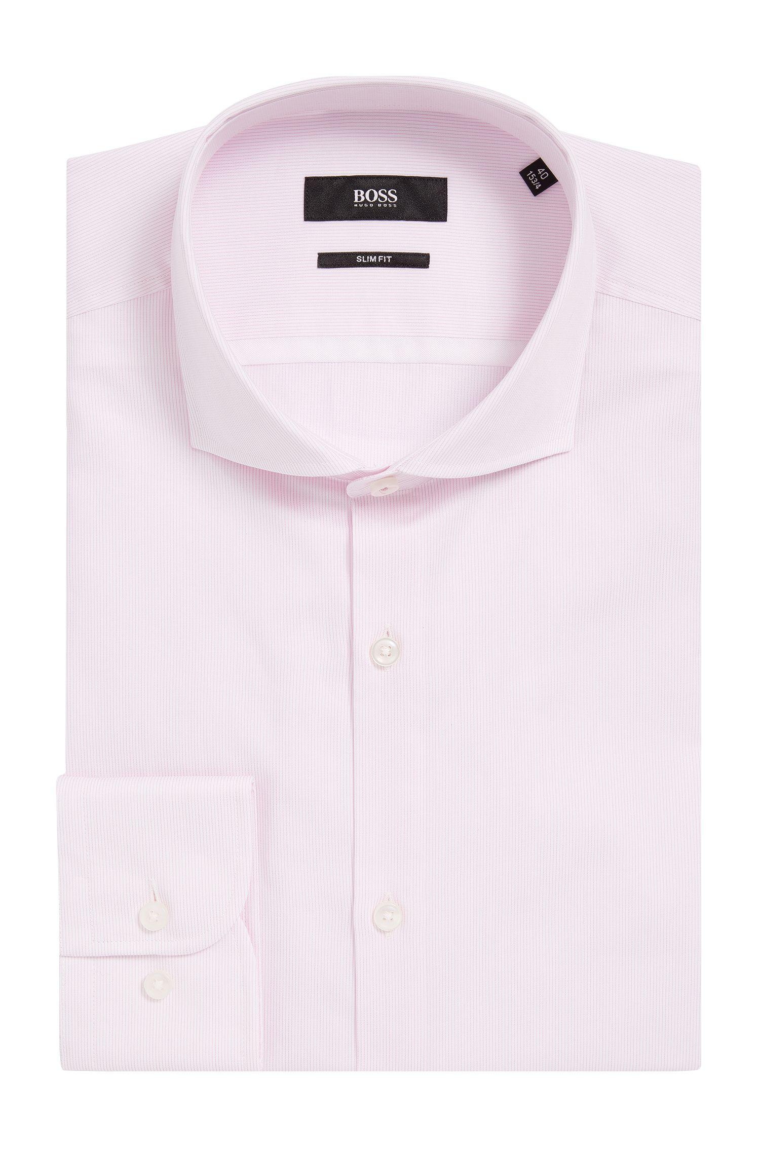 Striped Cotton Dress Shirt, Slim Fit   Jerrin