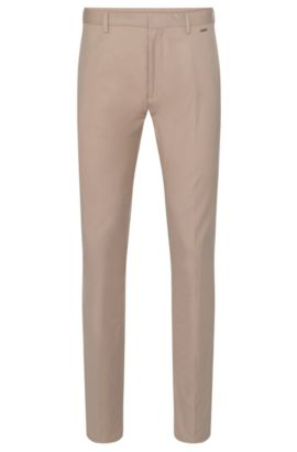 'Helgo' | Regular Fit, Stretch Cotton Blend Textured Trousers, Beige