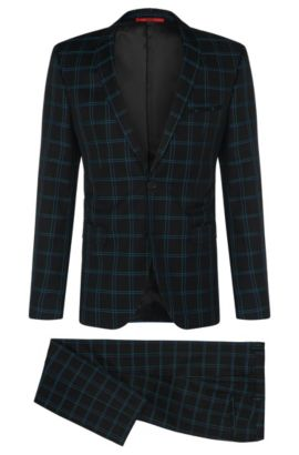 Windowpane Virgin Wool Cotton Suit, Extra-Slim Fit | Adris/Heilon, Black