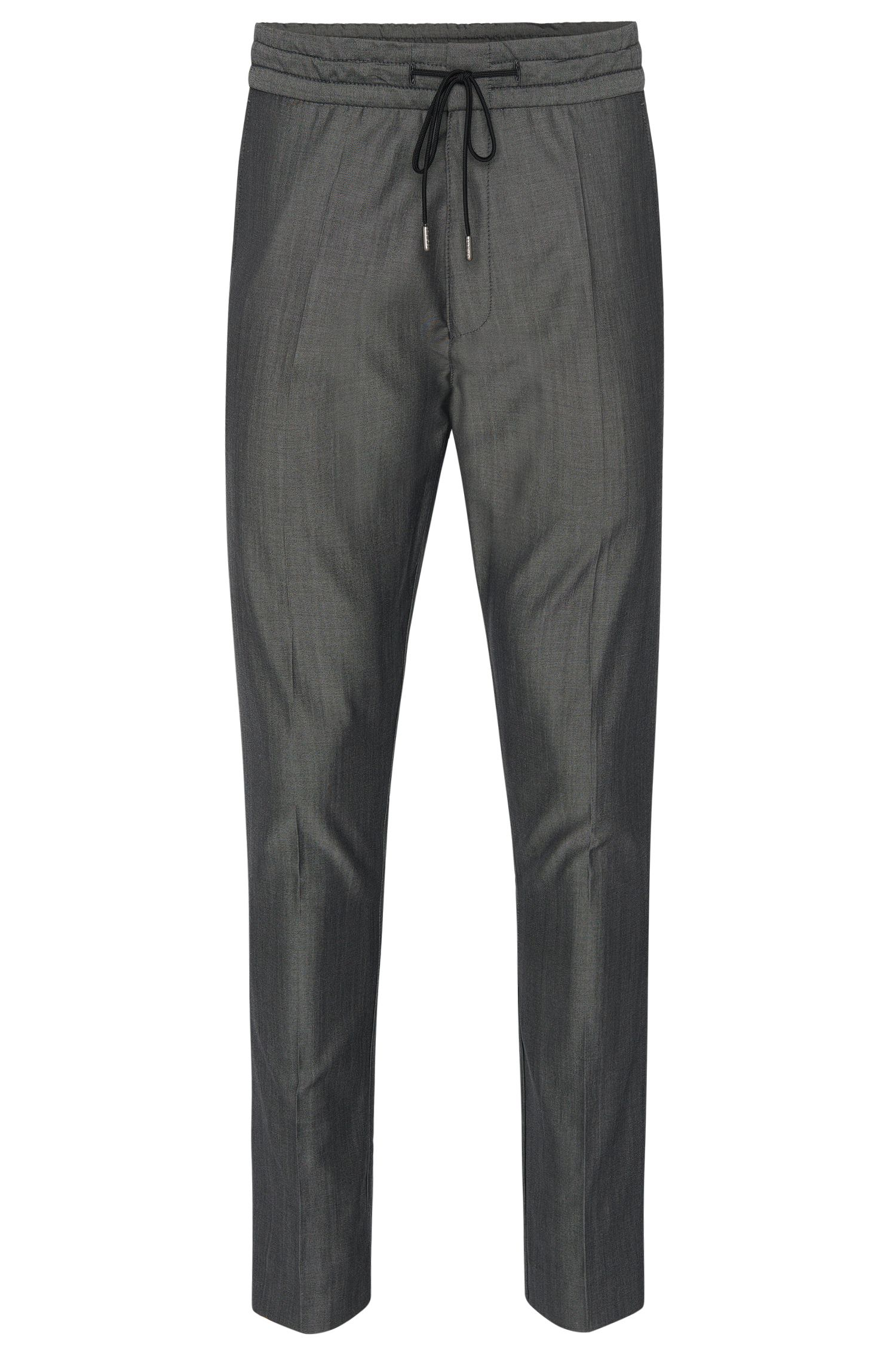 'Himesh' | Tapered Fit, Virgin Wool Cotton Drawstring Trousers