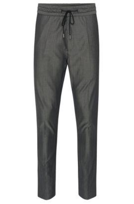 Virgin Wool Cotton Drawstring Pant, Tapered Fit | Himesh, Black