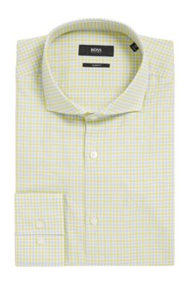 Checked Cotton Dress Shirt, Slim Fit | Jason  , Yellow