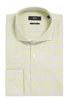 Checked Cotton Dress Shirt, Slim Fit | Jason, Yellow