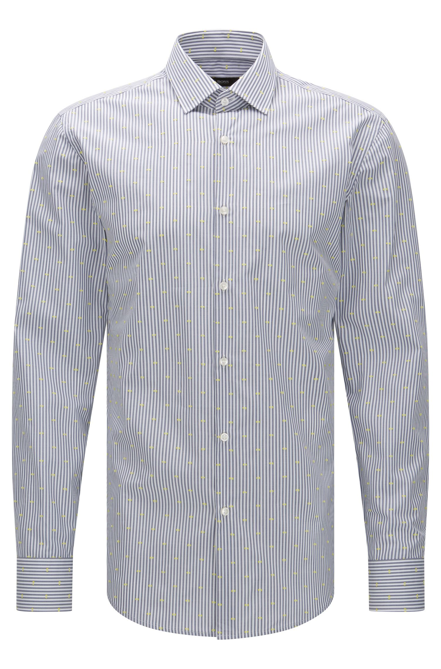 Jacquard Striped Cotton Dress Shirt, Slim Fit | Jenno