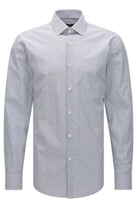 Jacquard Striped Cotton Dress Shirt, Slim Fit | Jenno, Dark Grey