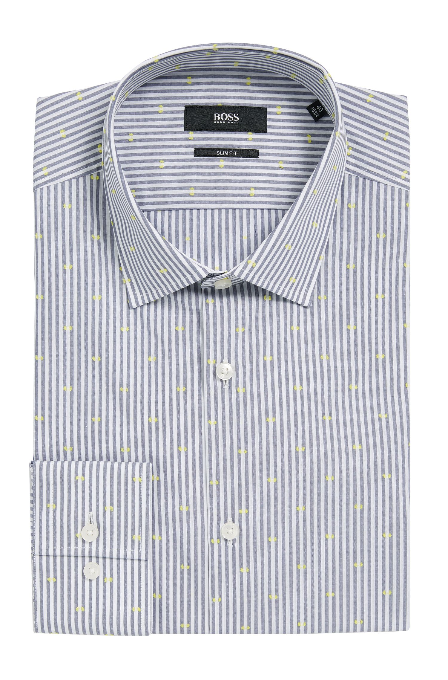 'Jenno' | Slim Fit, Cotton Contrast Textured Dress Shirt
