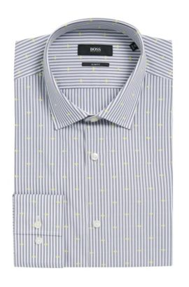 Jacquard Striped Cotton Dress Shirt, Slim Fit | Jenno , Dark Grey
