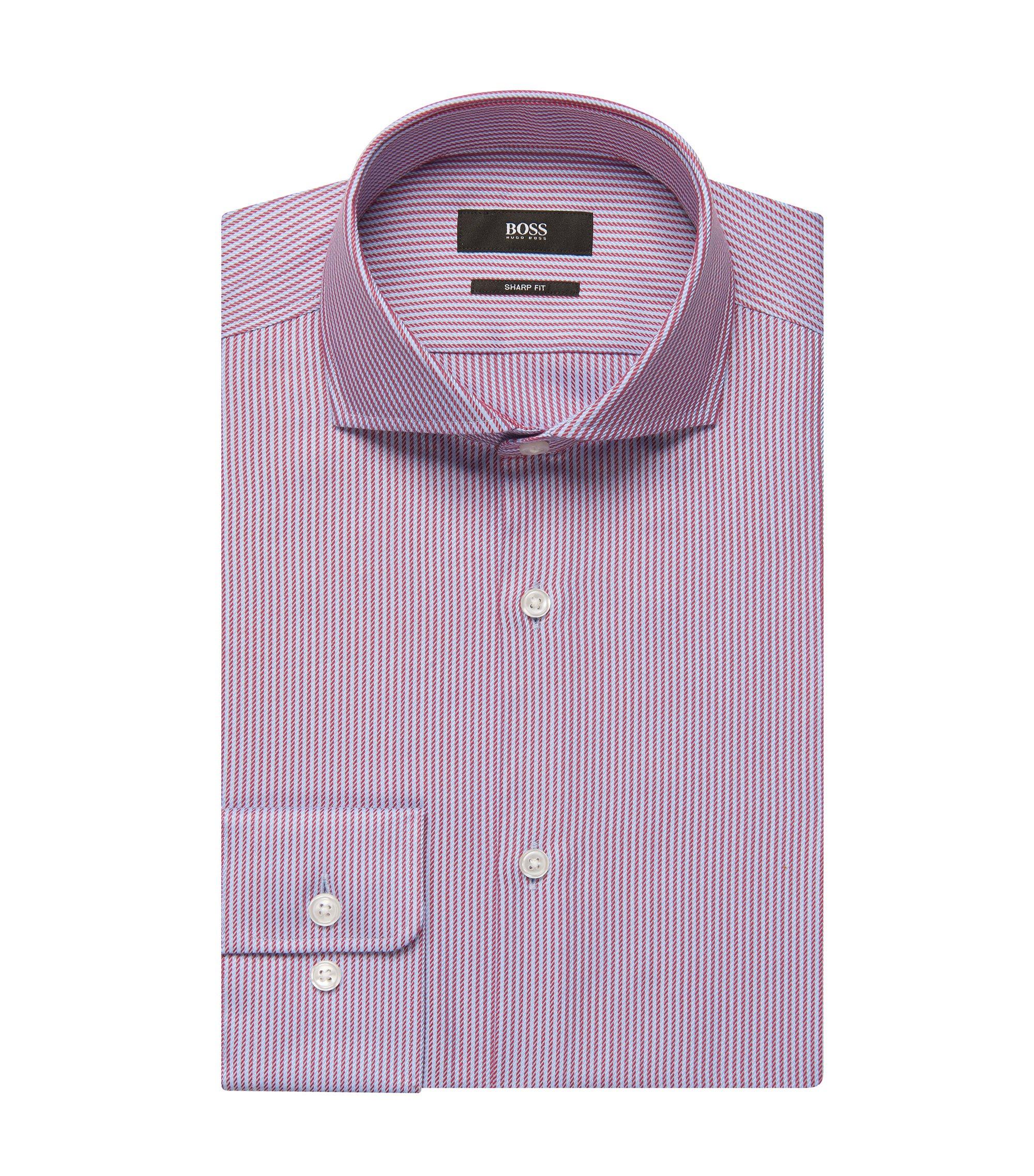 Striped Cotton Dress Shirt, Sharp Fit | Mark US, Red