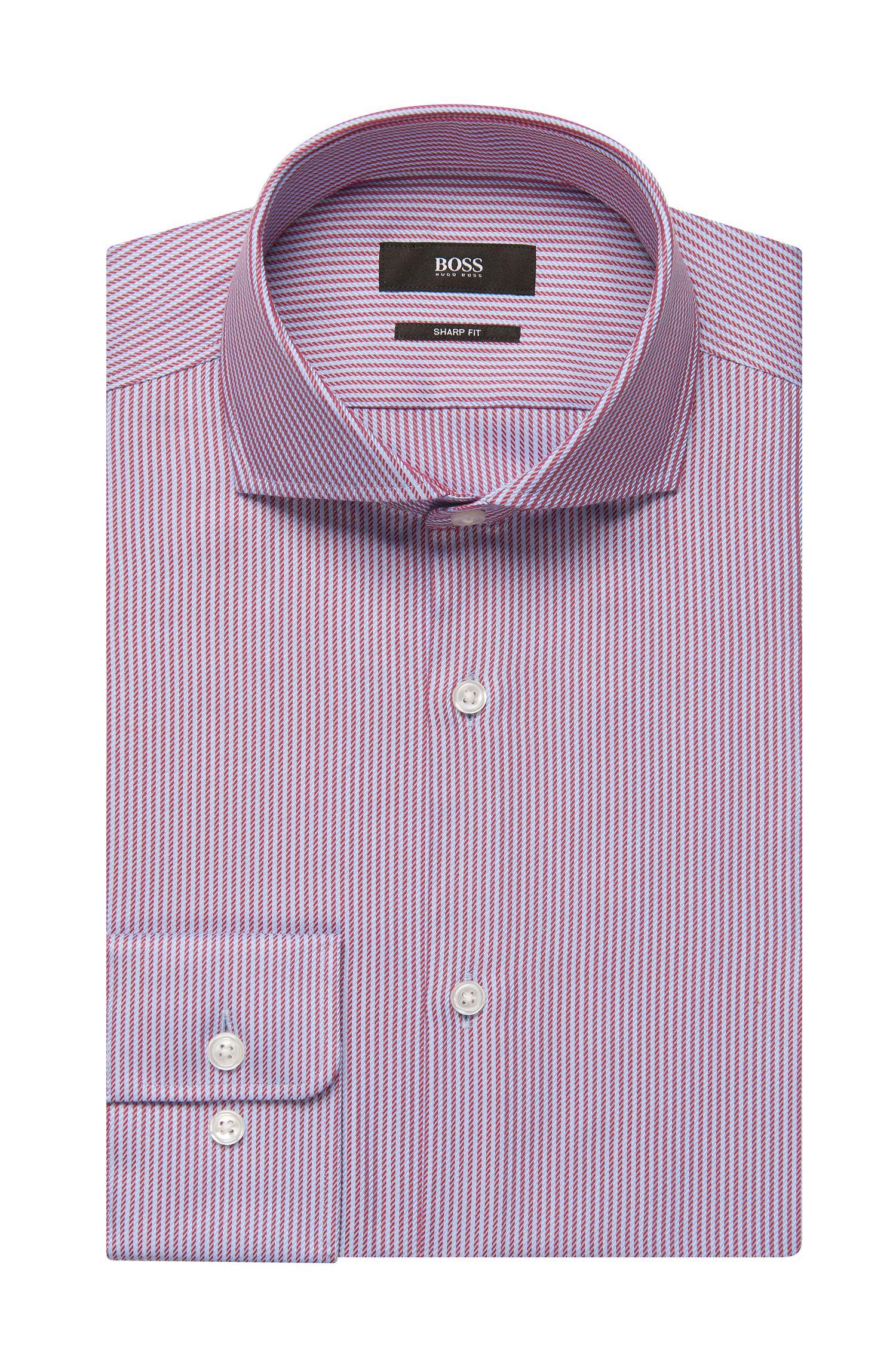 Striped Cotton Dress Shirt, Sharp Fit | Mark US