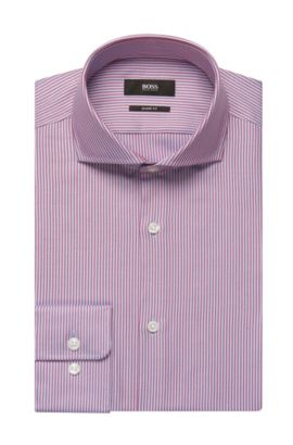 Striped Cotton Dress Shirt, Sharp Fit   Mark US, Red