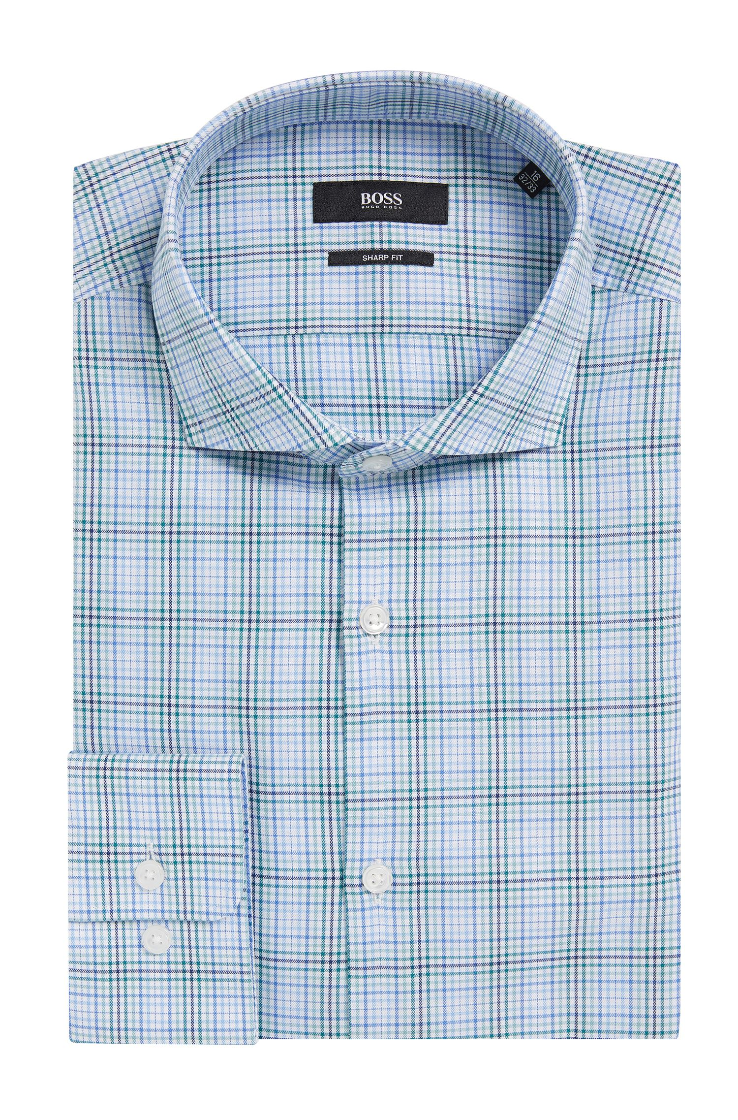 Plaid Cotton Dress Shirt, Sharp Fit   Mark US