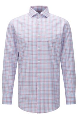 Plaid Cotton Dress Shirt, Sharp Fit   Mark US, Pink