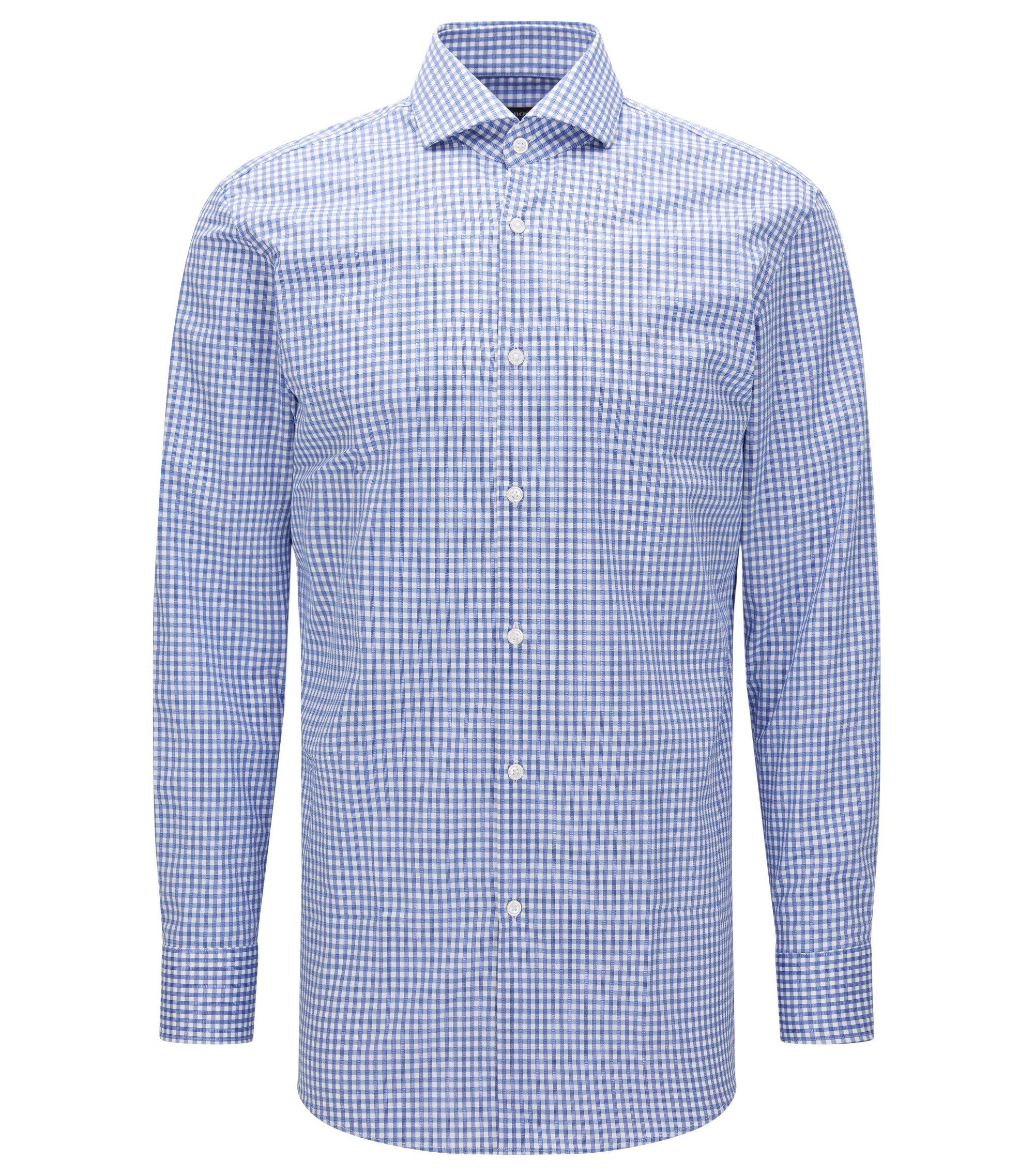 Sheperd's Check Cotton Dress Shirt, Sharp Fit | Mark US, Blue