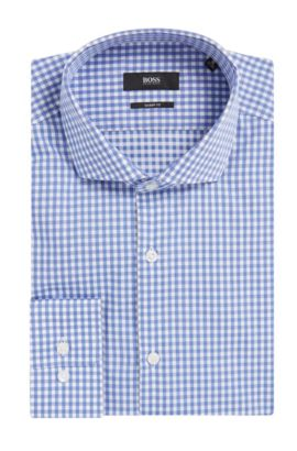 Sheperd's Check Cotton Dress Shirt, Sharp Fit | Mark US, Blue
