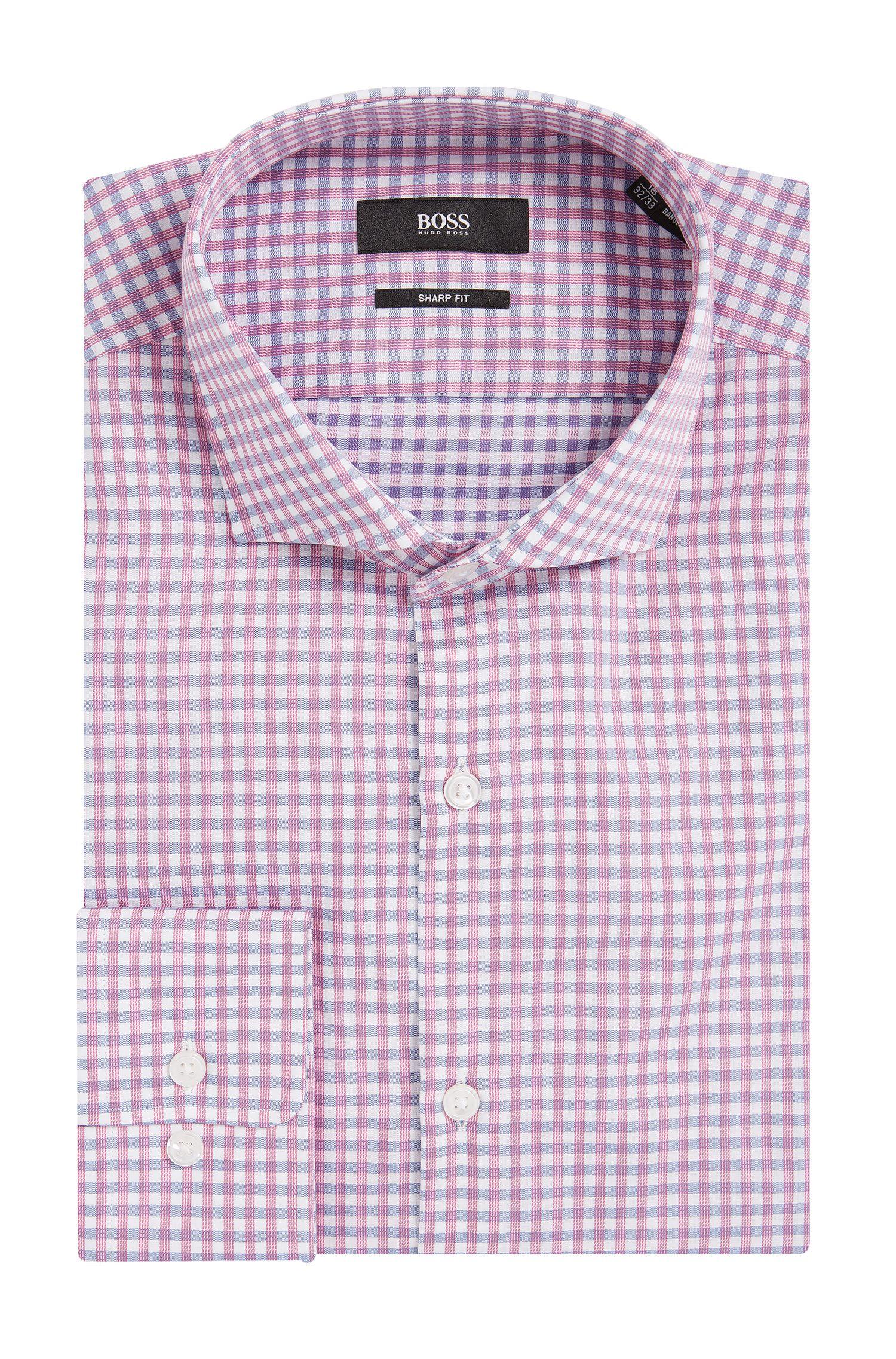 Sheperd's Check Cotton Dress Shirt, Sharp Fit | Mark US
