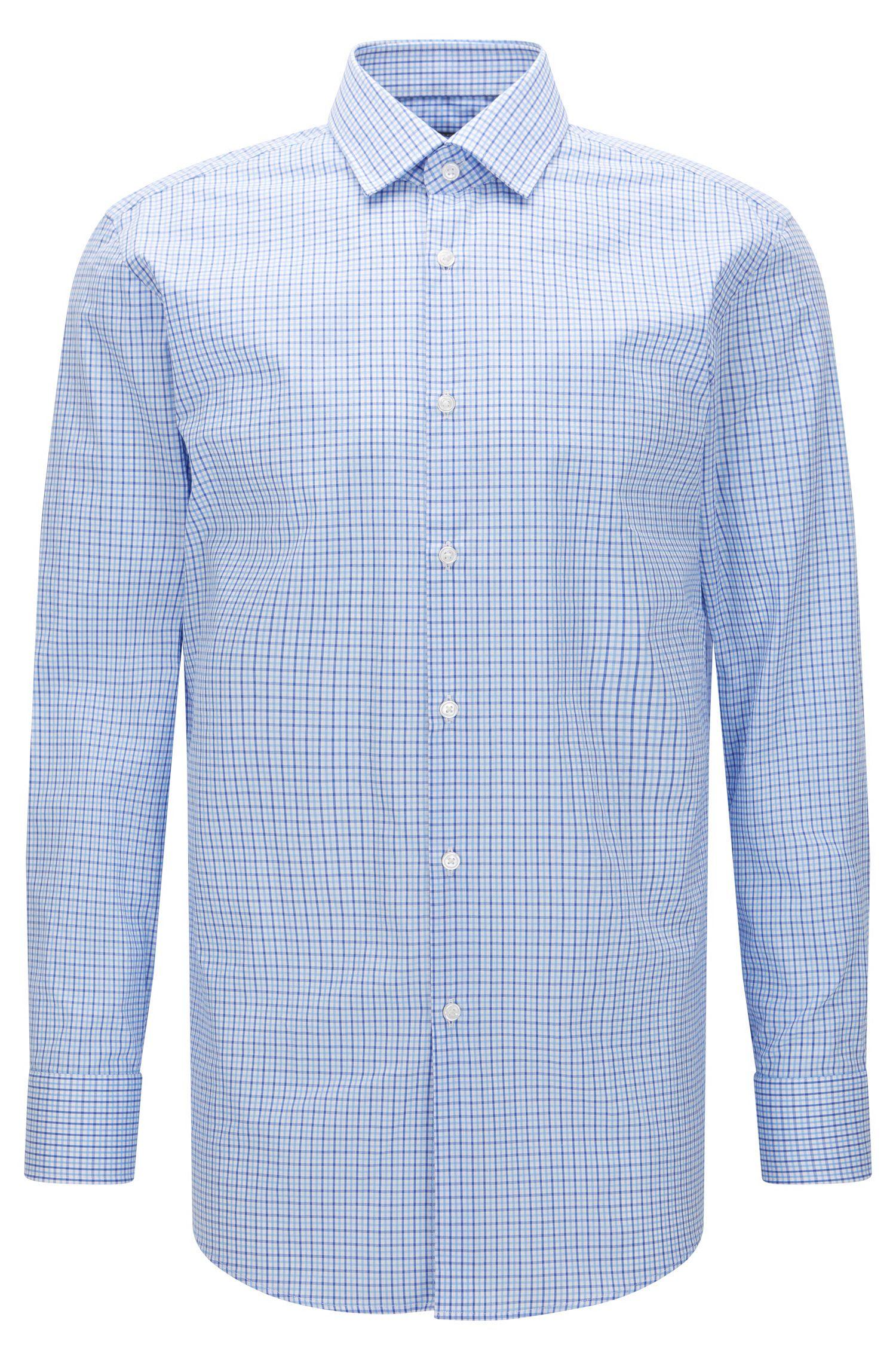 Tattersall Cotton Dress Shirt, Sharp Fit   Marley US