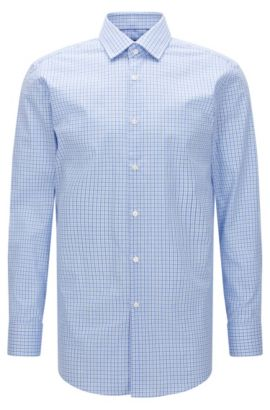 Tattersall Cotton Dress Shirt, Sharp Fit | Marley US, Light Blue