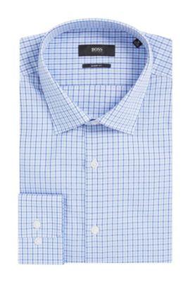 Tattersall Cotton Dress Shirt, Sharp Fit | Marley US, Light Blue