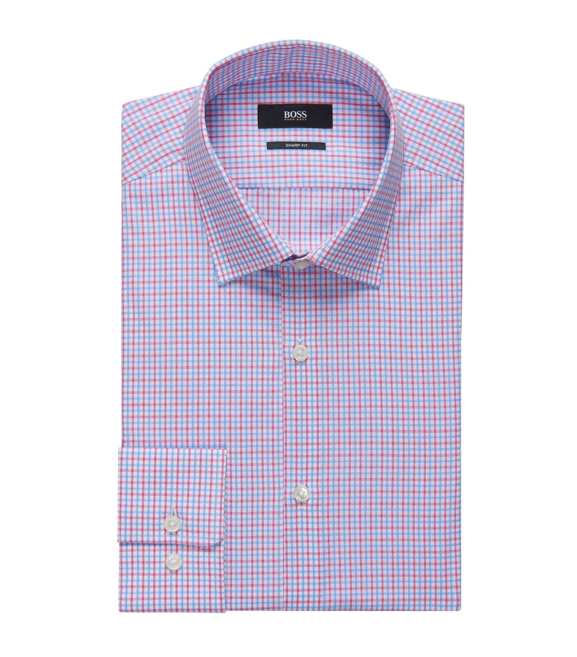 Tattersall Cotton Dress Shirt, Sharp Fit   Marley US, Pink