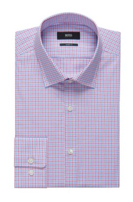 Tattersall Cotton Dress Shirt, Sharp Fit | Marley US, Pink