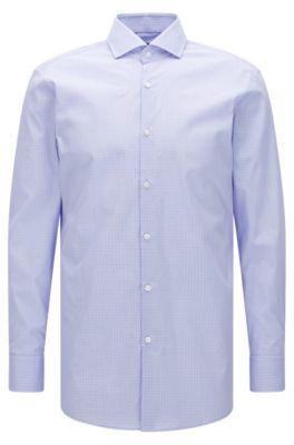 Windowpane Cotton Dress Shirt, Sharp Fit | Mark US, light pink