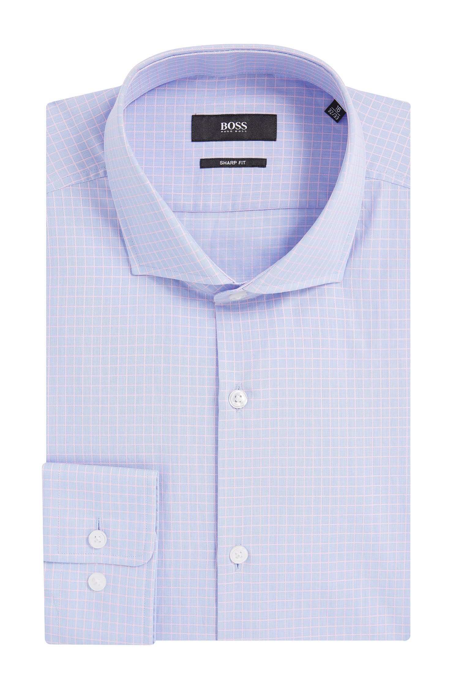 Windowpane Cotton Dress Shirt, Sharp Fit | Mark US, light pink
