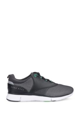 Leather Neoprene Running Sneaker | Gym Runn Nyme, Black