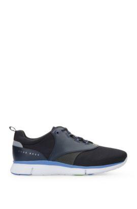 Leather Neoprene Running Sneaker | Gym Runn Nyme, Dark Blue