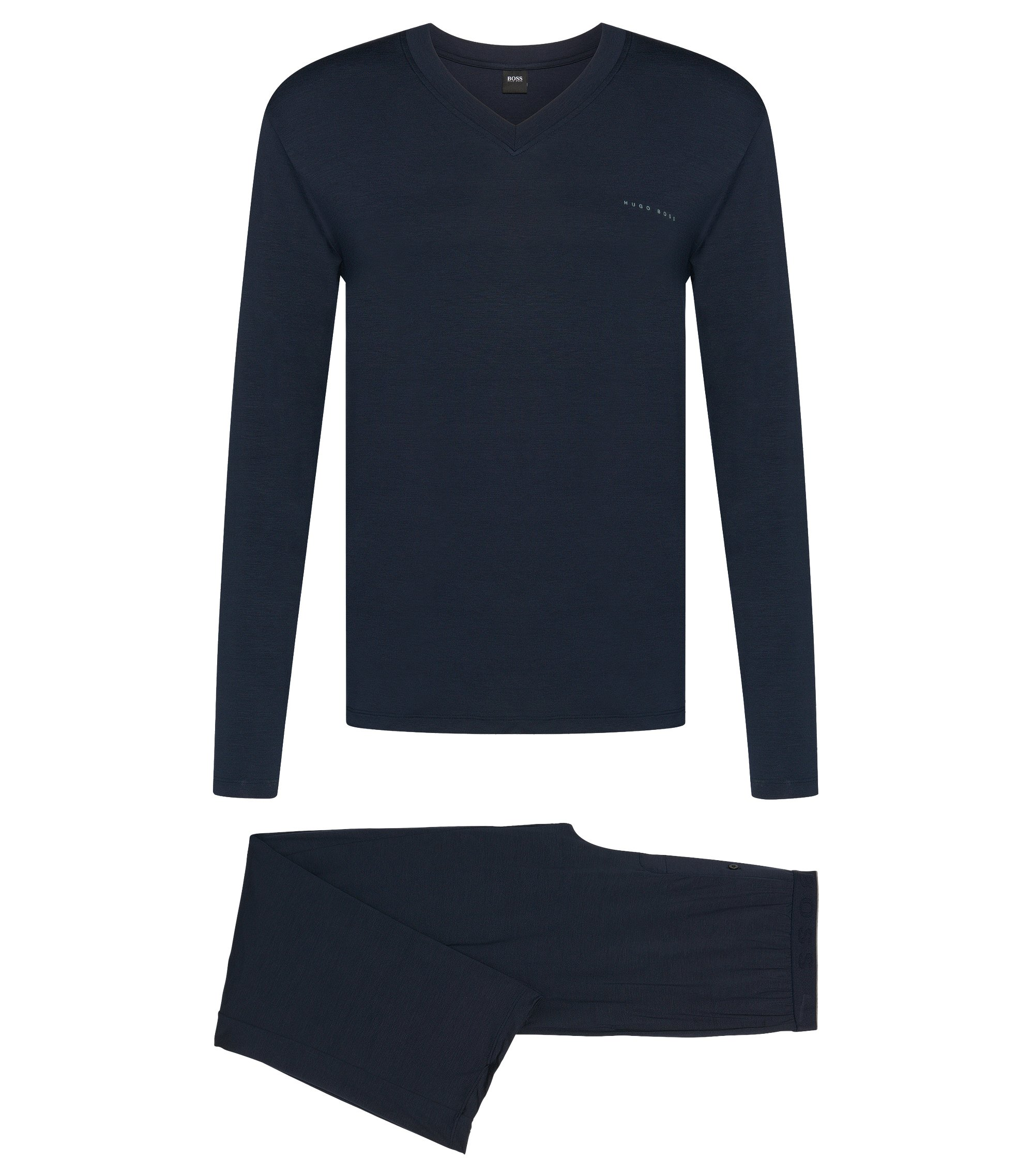Stretch Modal Pajama Set | Set Long, Dark Blue
