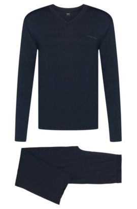'Set Long' | Stretch Modal Blend Pajamas, Dark Blue