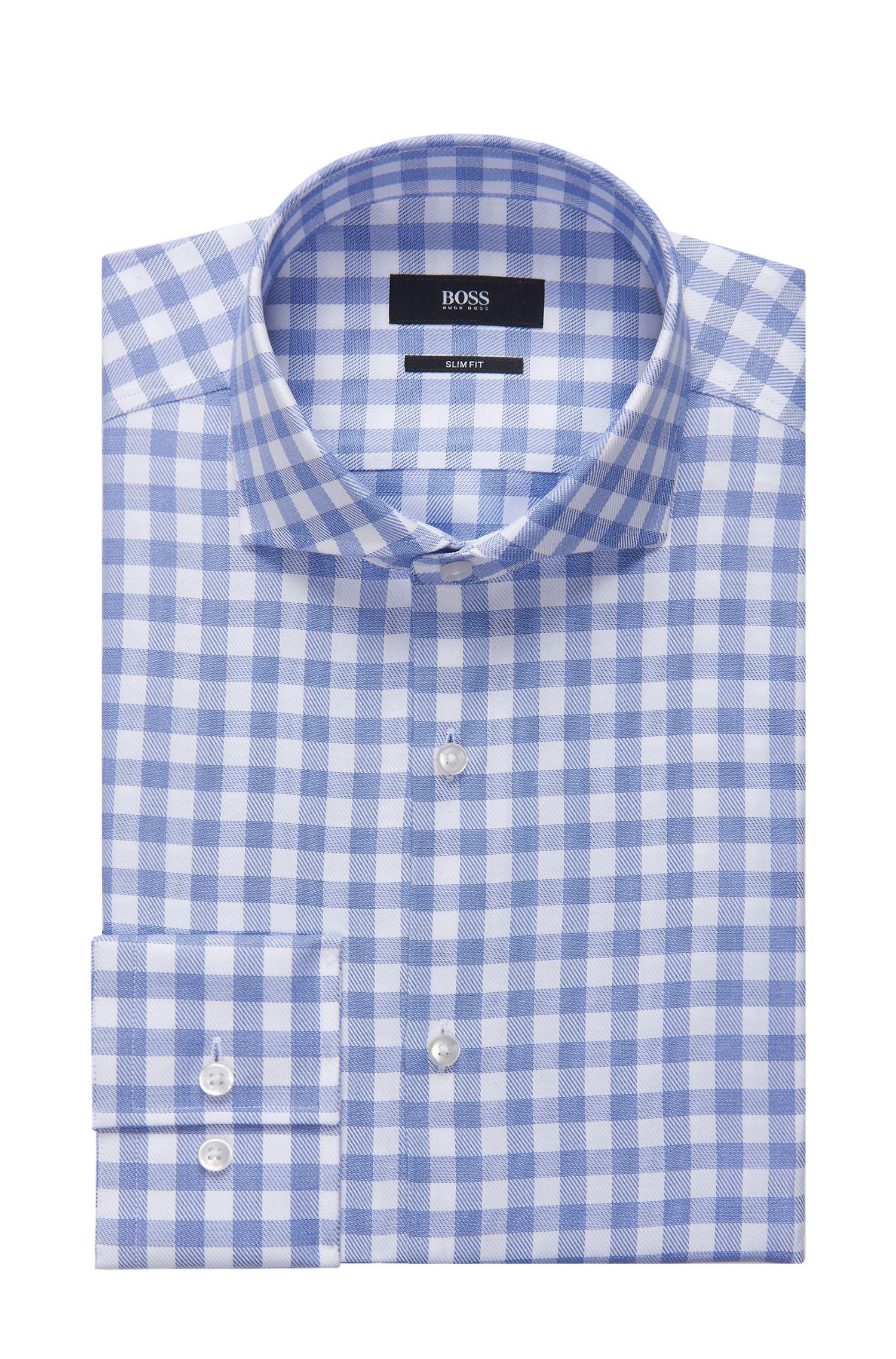 Sheperd's Check Cotton Dress Shirt, Slim Fit   Jason