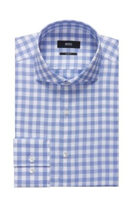 Sheperd's Check Cotton Dress Shirt, Slim Fit | Jason, Blue
