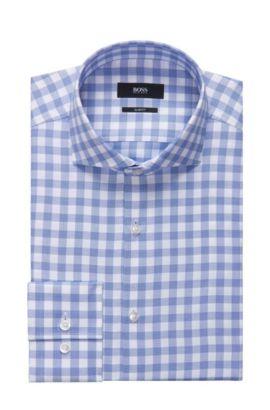 Sheperd's Check Cotton Dress Shirt, Slim Fit | Jason, Blue