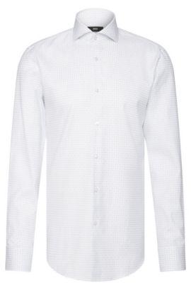 Grid Check Italian Cotton Dress Shirt, Slim Fit   Jason, White