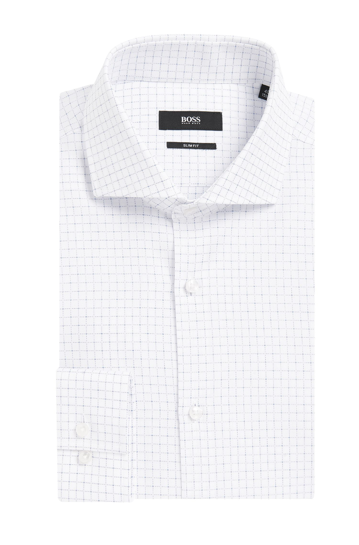 Grid Check Italian Cotton Dress Shirt, Slim Fit | Jason