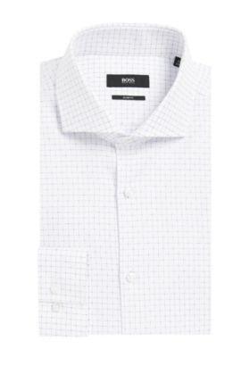 Grid Check Italian Cotton Dress Shirt, Slim Fit | Jason, White
