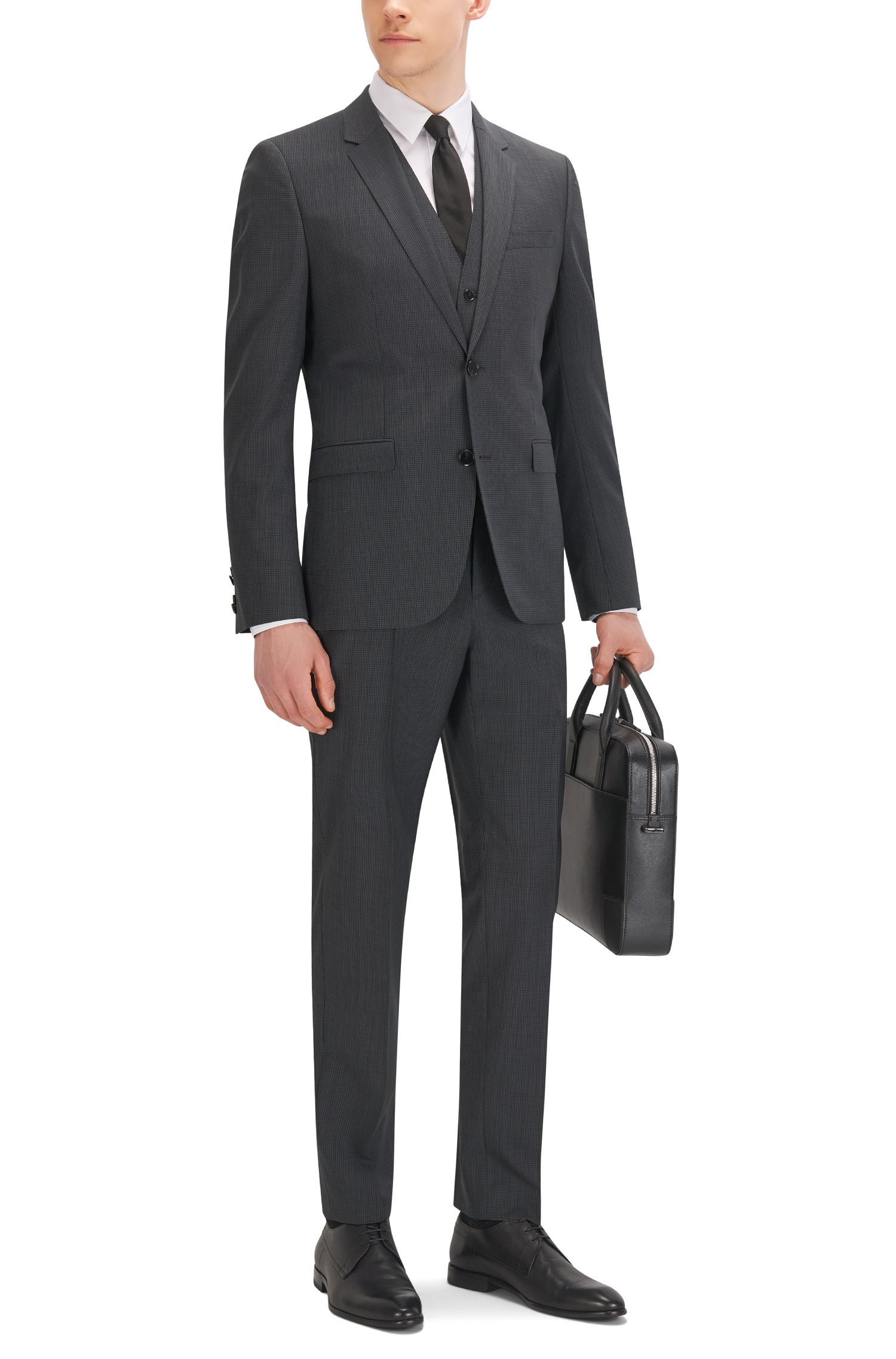 Checked Italian Super 120 Virgin Wool 3-Piece Suit, Slim Fit | Adwart/Wilard/Hets, Black