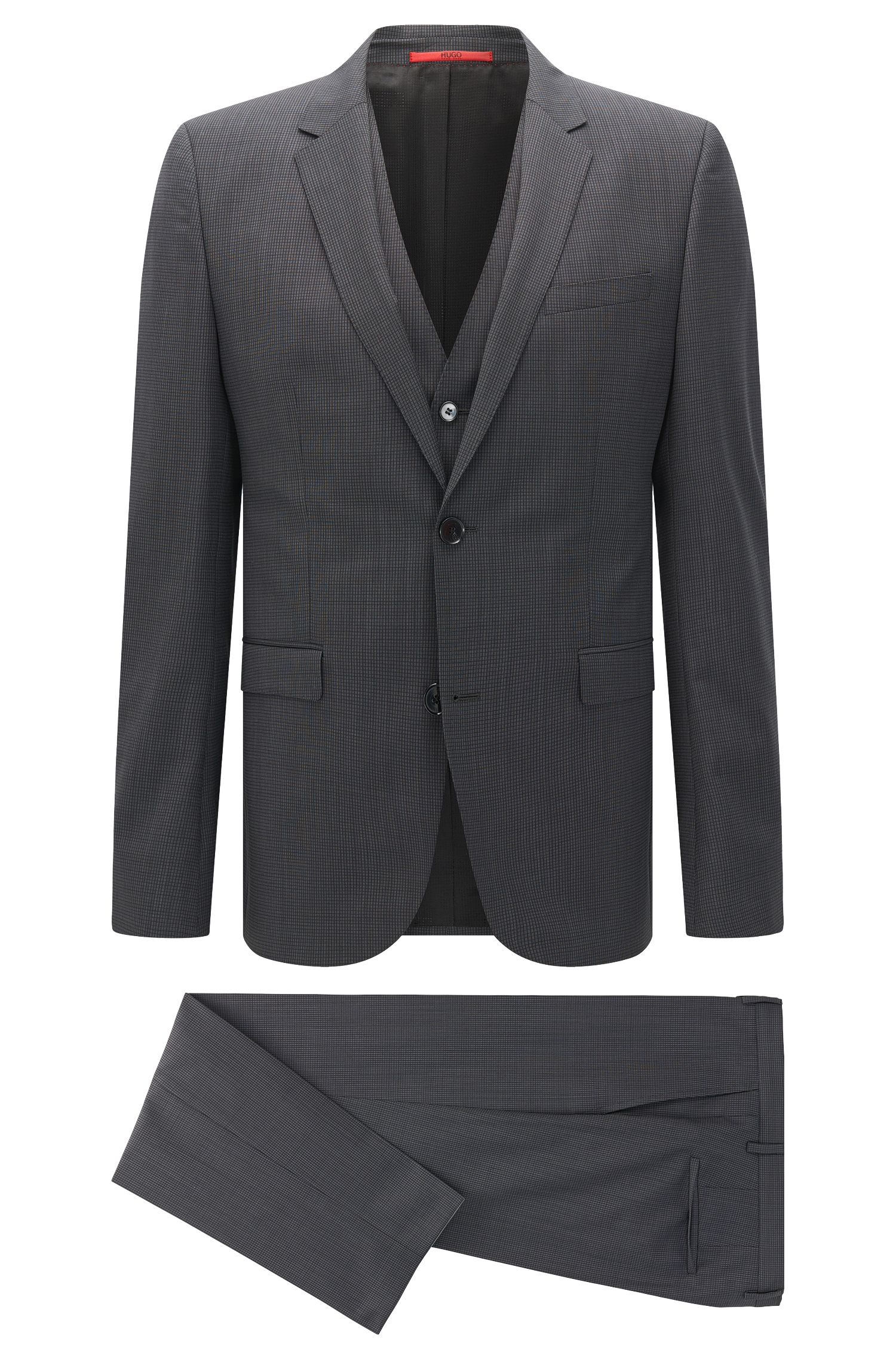 Checked Italian Super 120 Virgin Wool 3-Piece Suit, Slim Fit | Adwart/Wilard/Hets