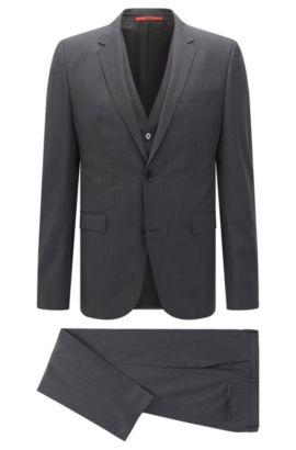 Checked Italian Super 120 Virgin Wool 3-Piece Suit, Slim Fit | Adwart/Wilard/Hets, Black
