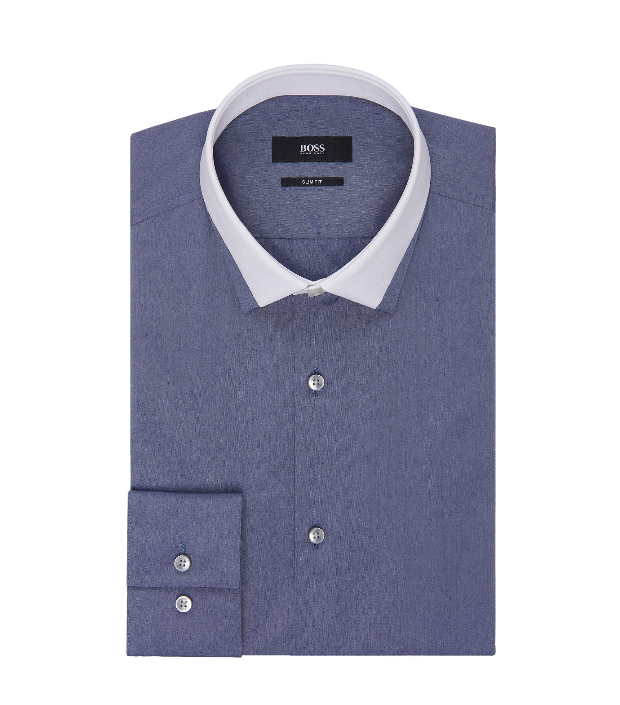 Contrast Collar Dress Shirt, Slim Fit  Jerrell, Dark Grey