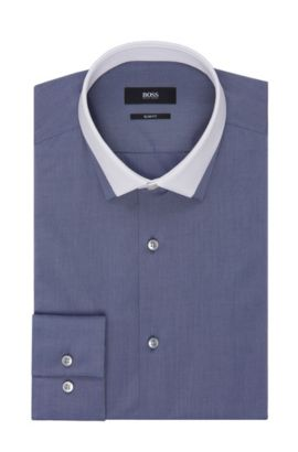 Contrast Collar Dress Shirt, Slim Fit  | Jerrell, Dark Grey