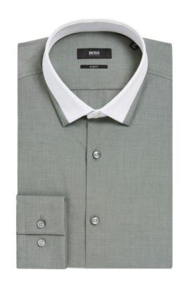 Contrast Collar Dress Shirt, Slim Fit| Jerrell, Dark Green