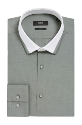 Contrast Collar Dress Shirt, Slim Fit  | Jerrell, Dark Green