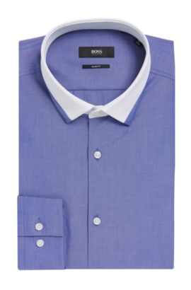 Contrast Collar Dress Shirt, Slim Fit| Jerrell, Blue